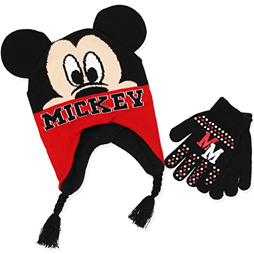 Mickey Mouse Ears With Gloves (Mickey Mouse Youth Boys Beanie Hat and Gloves Set (Jet Black))