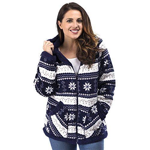TrailCrest Ladies Smart Plush Sherpa Lined Hooded Sweater Jacket - Zip-Up Classic Pattern Navy