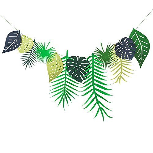 Memory Journey Tropical Leave Paper Garland Decoration for Wedding, Kids Party,Birthday Tropical Themed Party Window Decoration,Dessert Table,Jungle Party Backdrop