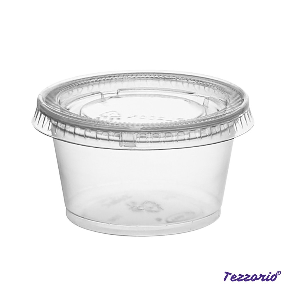7f54a5e50fb Small Clear Plastic Condiment Cups/Sauce Cups 125 Pack Disposable ...