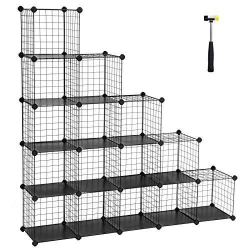 SONGMICS Metal Wire Storage Cube Organizer, Modular Shoe Rack, DIY Closet Cabinet and Shelving Grids, Bookcase, Includes Rubber Mallet, Black,16-Cube (Diy Shelving Unit)