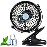 Desk Clip Fan With Rechargeable Battery And USB Cord,Portable Baby Stroller Car Speed Adjustable Cool Mini Fans Also For Table Quiet Personal Work,Grip,Tent,Travel,Treadmill,Black Color