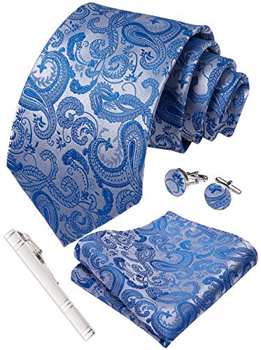 (DiBanGu Paisley Tie Light Blue Tie Pocket Square Cufflinks Set Woven Silk Necktie)