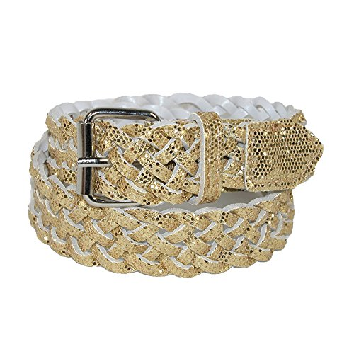Gold Braided Belt (CTM® Girls Metallic Braided Belt, Medium,)