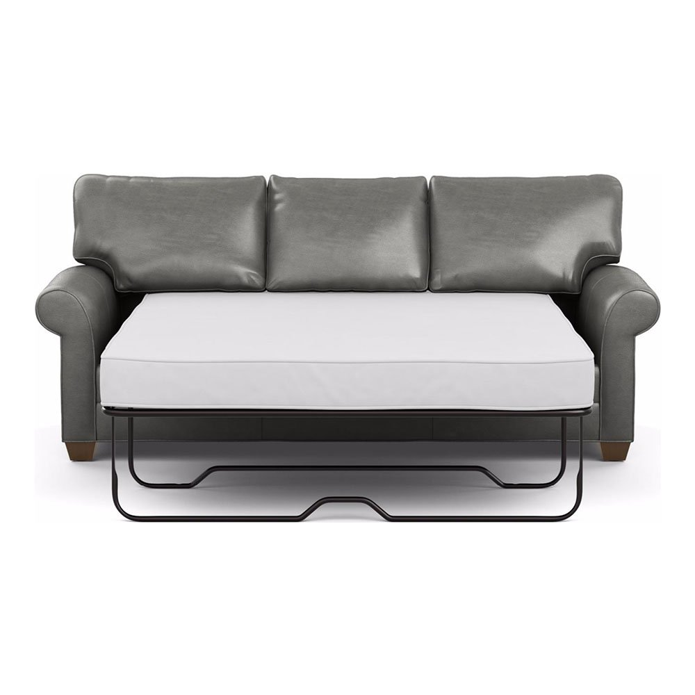 Ethan Allen Bennett Roll-Arm Leather Sofa, 86