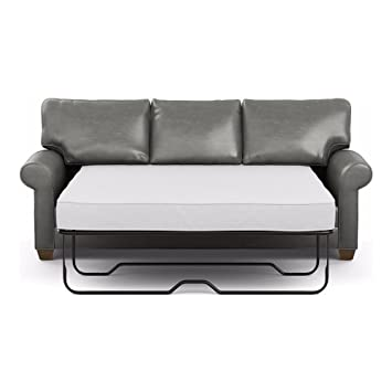 Ethan Allen Bennett Roll Arm Leather Sofa, Quick Ship, 86u0026quot; Sleeper,