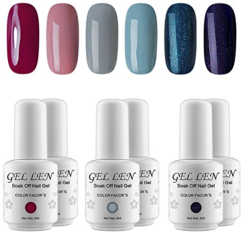 Gellen Fashion Gel Manicure Pure Shimmering 6 Colors - Soak