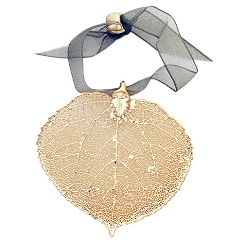 - Curious Designs Leaf Ornament - Aspen, Gold Plated, Real Leaves