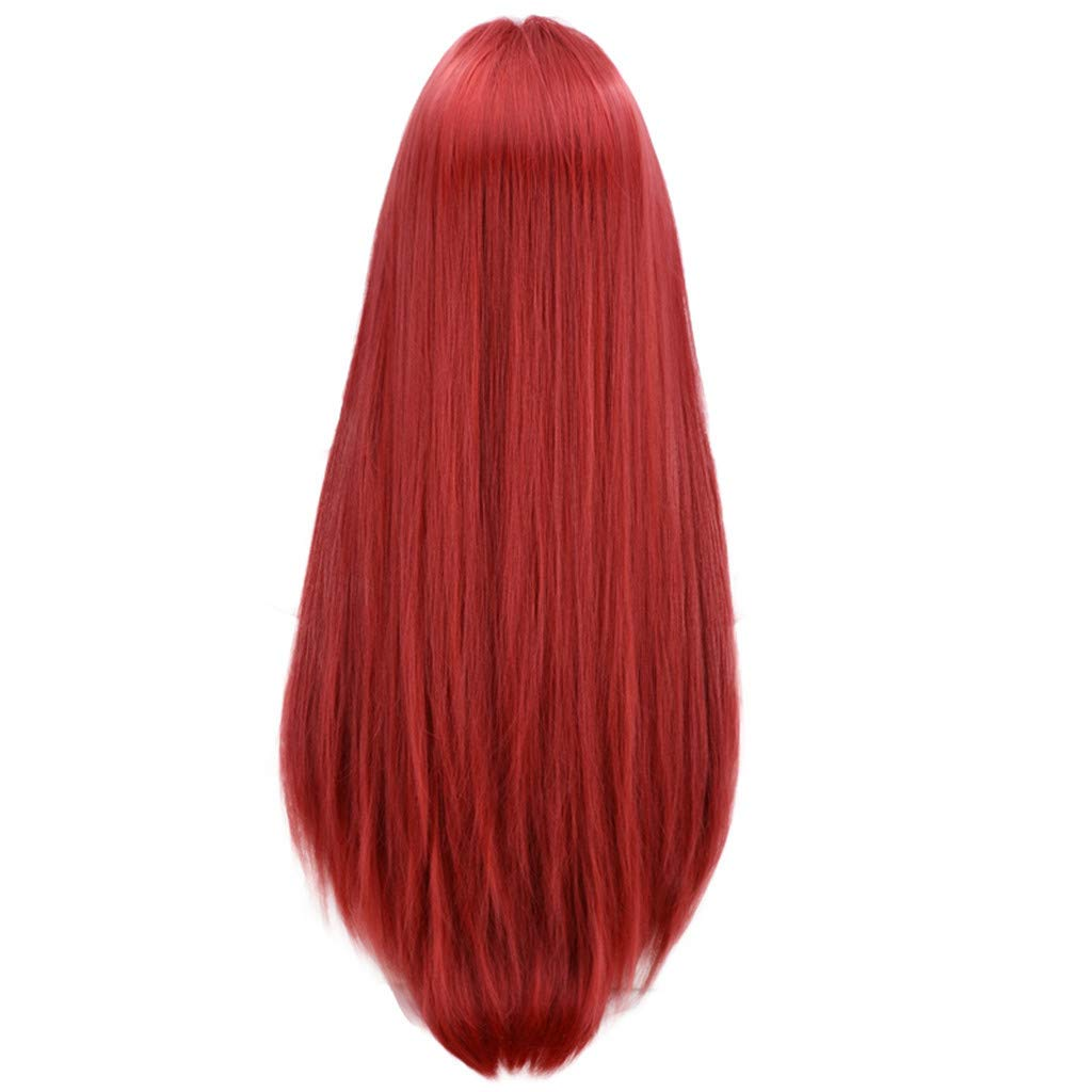 Wig,SUPPION Natural Straight Lace Front Synthetic Wig Fashion Women Red Wine Color Long Wigs - 60cm - Cosplay/Party/Costume/Carnival/Masquerade (Red Wine)