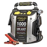 Battery Jump Starter Air Compressor Peak Portable Car Charger Booster Stanley 1000 Peak Amp with Compressor:
