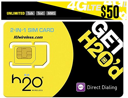 H2O H20 Wireless Micro / Mini SIM Card for any Unlocked GSM Phone w/ $50 Airtime (H2o Wireless Airtime)