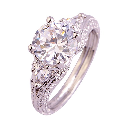 Psiroy Women's 925 Sterling Silver Cubic Zirconia Filled Soliatire Anniversary Ring Size 8