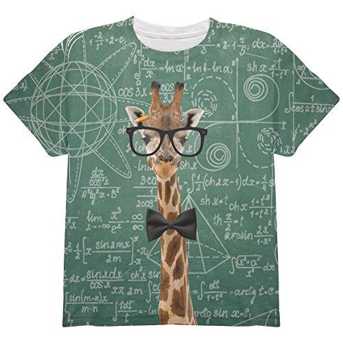 Animal World Giraffe Geek Math Formulas All Over Youth T Shirt Multi YLG Spot Youth T-shirt