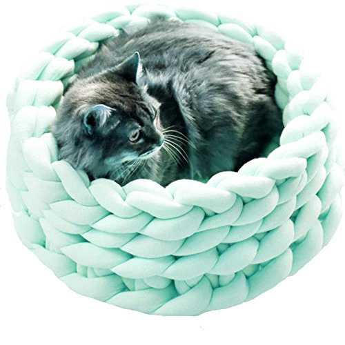 Popular Knit Chunky Pet Cave Arm Knitting Cat Cave Braid Cat Bedding Modern Chunky Knit Kitty Bed Kitten Cave Cat Lover Gift Cat Cave Large Diameter 18in ()