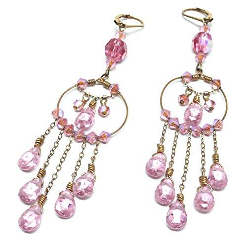 Briolette Hoop Crystal Earrings (Pink Chandelier Hoop OOAK Earrings CZ Briolette Crystal Gold-Filled)