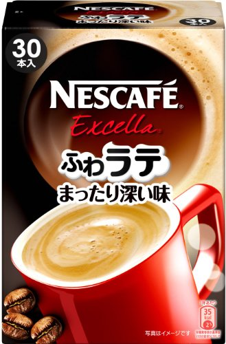 Nescafe Excella Fuwa Latte Deep Flavor, Instant Caffe Latte, 1 Box including 30 Sticks(for 30 Servings) [Japan Import] by Fuwa Latte