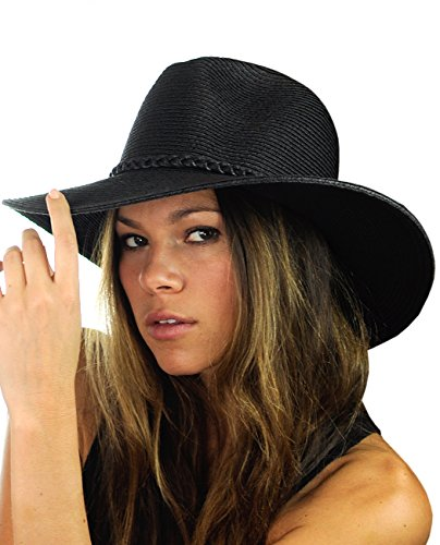NYFASHION101 Teardrop Dent Braided Trim Casual Panama Fedora Sun Hat, Black -
