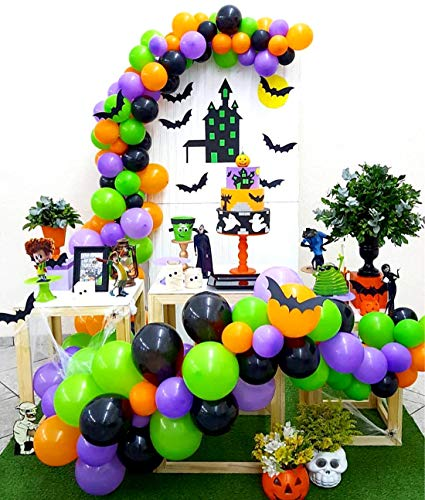 Halloween Decorations Balloons (Halloween Balloon Garland Arch Kit 16Ft Long 128pcs Orange Black Purple Fresh Green Balloons for Kids Birthday Party Centerpiece Backdrop Decorations and Front Door Porch)