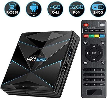 YPSMLYY HK1 Super RK3318 Quad Core Android 9.0TV BOX4GB RAM / 32GB ROM Compatible con 2.4Ghz / 5.0 GHz WiFi Bluetooth 4.0 4K HDMI DLNA 3D Smart TV Box: Amazon.es: Hogar