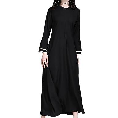 Deylaying Modesto Medio Oriente musulmán islámico Mujer Robes árabe Maxi Vestido Mangas de trompeta Turquía Iglesia Oración Ropa étnica Kaftan Apparel Abaya ...