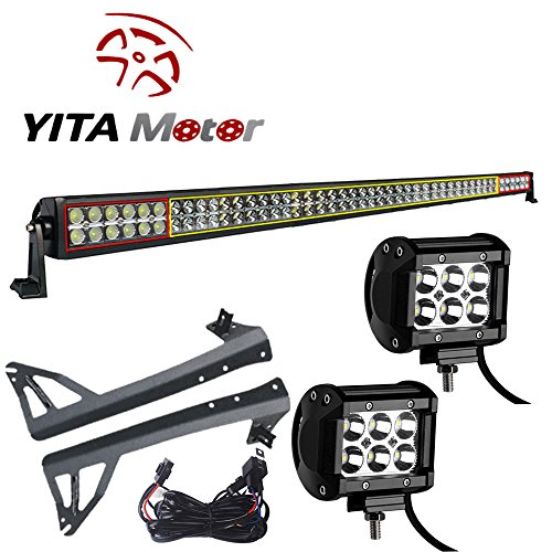 """YITAMOTOR JK Jeep Wrangler 50"""" LED Light with Spot Lights and Mounting Brackets"""