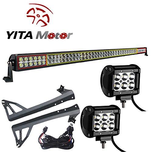 YITAMOTOR 288W 50″ Combo Beam LED Work Light Lamp + 2 X 4″ 18W Spot LED Light Bar + Upper Windshield Mounting Bracket + Wiring Driving OffRoad Fits for 07-15 JEEP JK Wrangler