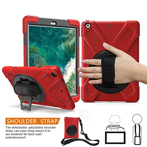 BRAECNstock New iPad 2018/2017 9.7 inch Case, Heavy Duty Stand Shockproof Protective Case Cover for Apple New iPad 9.7 inch (2018/2017 Version) with a Hand Grip/a Shoulder Strap (Red)