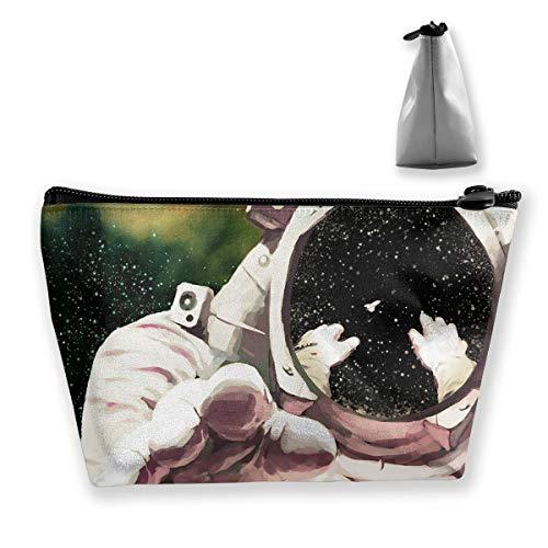 (Makeup Bag Trapezoidal Storage Bag Astronaut Space Artwork Portable Cosmetic Bag Ladies Mobile Travel)