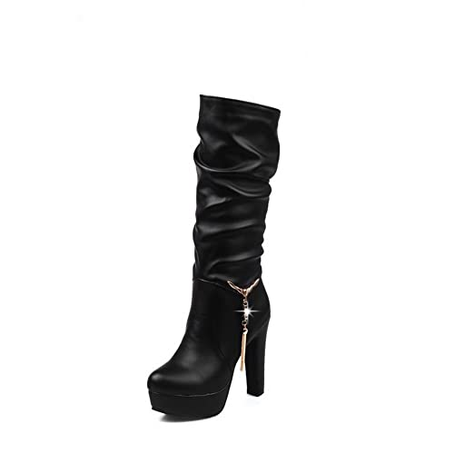 a7c13bf6625b 1TO9 Womens Solid Fashion Cold Lining Black Urethane Boots MJS03420-4.5 B(M)