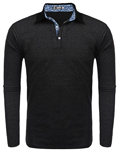 Coofandy Mens Short Sleeve Casual Striped Collar Classic Fit Polo Shirts Medium Black