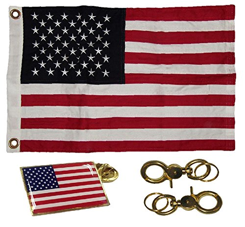 ALBATROS 16x24 Embroidered 100% Cotton USA American Flag 16ftx24ft Banner Frame Pin Clips for Home and Parades, Official Party, All Weather Indoors Outdoors ()