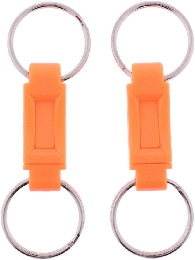 2x Quick Release Keychains Detachable Pull Apart Split Keyrings Easy Detach