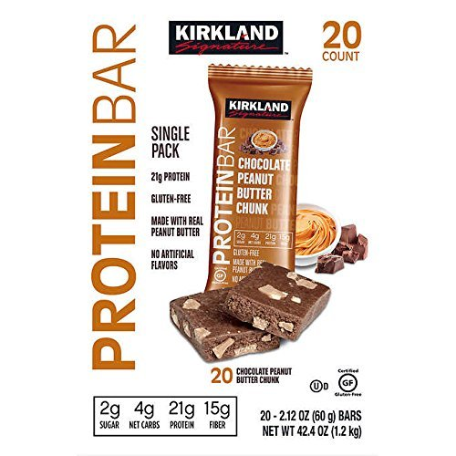 Kirkland Signature Protein Bars Chocolate Peanut Butter Chunk 2.12 oz, 20-count by Kirkland Signature
