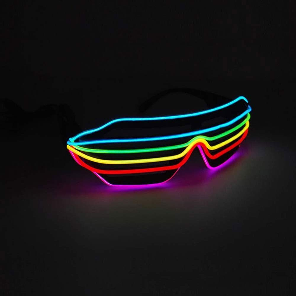 LYX LED Lights Flash Glasses,Novelty Luminous Shutter Glasses Adjustable EL Wire LED Sunglasses Light Up Neon Rave Glasses by LYX