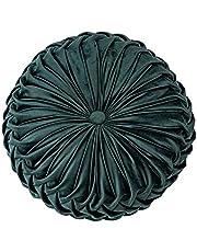 "Throw Pillow for Couch Decorative 3D Pumpkin Vehicle Wheel Round Velvet Cushion for Sofa Bed Chair Floor 15""X15"", Dark Green"