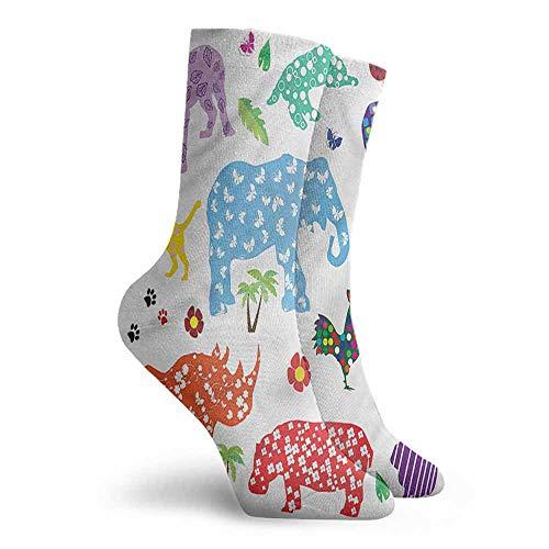 Men Multicolored Pattern African Wild Animals Floral Hiking Walking Socks -