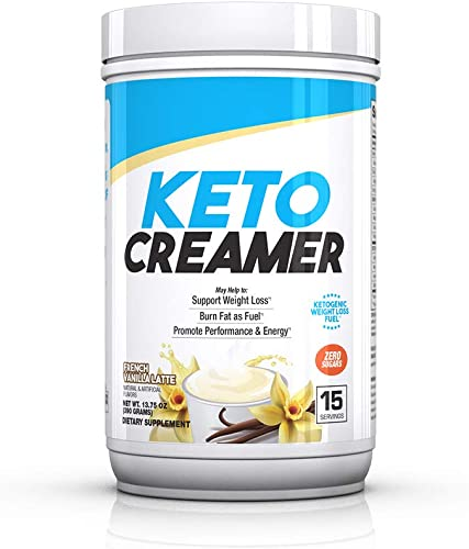 BPI Sports Keto Creamer Ketogenic Coffee Creamer Electrolytes, MCTS, 10g Healthy Fats Supports Ketosis, Energy, Appetite Control for Men Women French Vanilla Latte 15 Servings