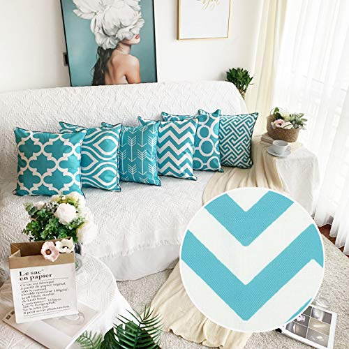 Alimama,Cotton Linen Digital Printed Geometric Pillowcases 18 x 18 Inch with Meaningful Pastoral Colors with Piping for Soft Home Decorate Cushion Covers Sham, Pack with 6 Pcs 45x45cm, Aqua (Linen Cushion)