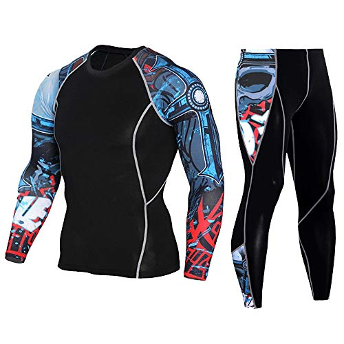 - HEROBIKER Men's Workout Set Compression Shirt and Pants Top Long Sleeve Sports Tight Base Layer Suit Quick Dry