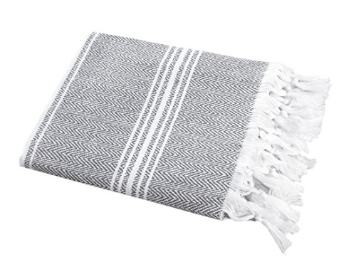 SALBAKOS Turkish Peshtemal Fouta Towel, 100% Organic Cotton, 40 x 70 Inch, Herringbone Gray