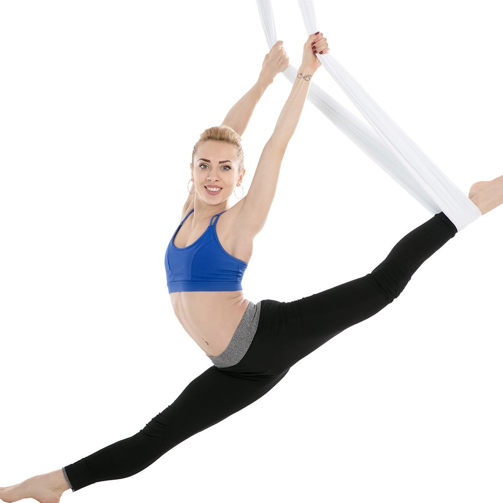 Tofern Aerial Yoga Hammock Kit 5.5 Yards Antigravity Trapeze Inversion Exercise Home Indoor Outdoor Yoga Silk Swing Sling Set with Hardware Ceiling Hooks Bolts 2 Extension Straps, White by Tofern (Image #5)