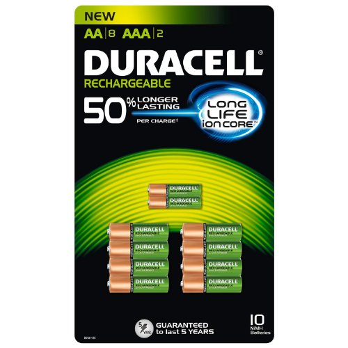 Duracell Rechargeable AA (8 batteries) and AAA (2 batteries) Multi-Pack Pre-charged Batteries