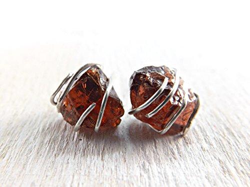 (raw crystal earrings, rough garnet stud earrings, crystal stud earrings silver, small gemstone earrings, red garnet stud, blue apatite studs green, handmade)