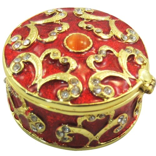 Red Round Bejeweled Collectible Trinket Jewelry -