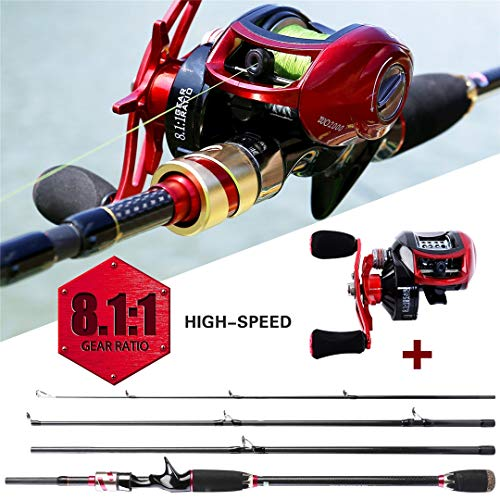 Tanfishes 4 Section M Power Carbon Fiber Rod Left/Right H Casting Reel Fishing Combos Set 2.1M Left H