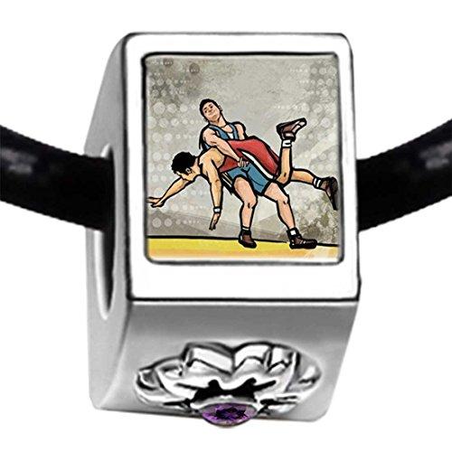 Silver Plated Olympics Wrestling Purple Amethyst Crystal February Birthstone Flower Bead Charm Bracelets by GiftJewelryShop