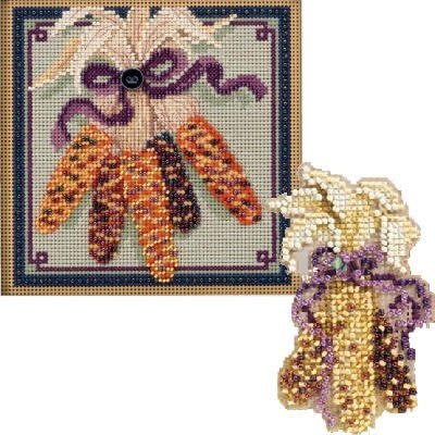 2 Item Corn Bundle: 1 Buttons and Bead Counted Cross Stitch