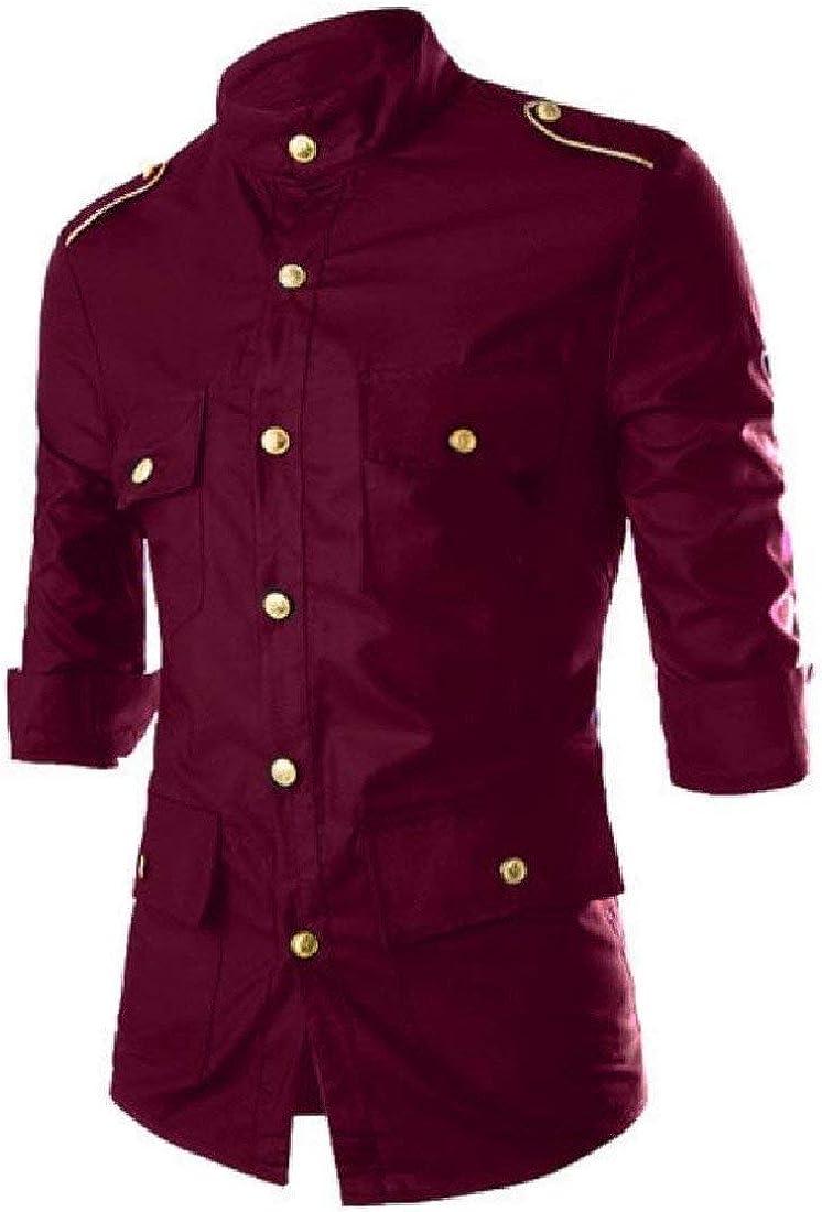 Zimaes-Men Court Style Silm Fit Epaulet Solid Tops Premium Dress Shirts