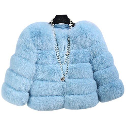 Longues Vest Court Femme Fourrure Manteau LaoZan avec Coat Fausse pour Bleu Manches Gilet en Clair wqxw570IH