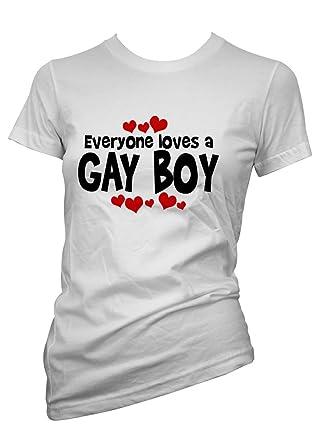 Lustige Witzige Coole Sprüche fun T Shirt Weiß Loves A Gay Boy